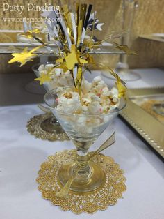 Gold New Year's party popcorn!  See more party planning ideas at CatchMyParty.com!