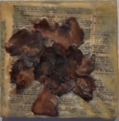 """Grandma's Gardinea"" Encaustic wax, pressed gardinea. 4"" x 4"" 2013"
