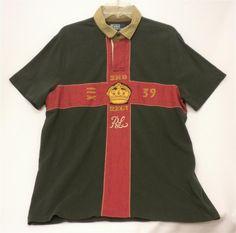 7d0889d91 Polo Ralph Lauren Custom Fit Lava Gray Red Cross Crown Rugby Shirt Sz L Men  for sale online