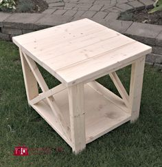 DIY Rustic X Side table - plans from Ana White