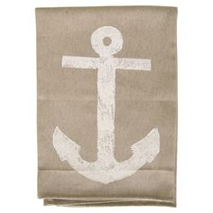 Showcasing an anchor motif in white, this hand block printed cotton dishtowel lends a touch of nautical charm to your kitchen decor.