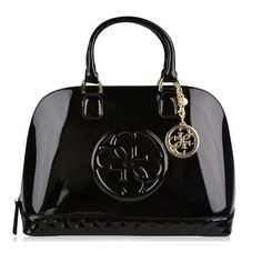 Guess Amy Shine Dome Bag ($175) ❤ liked on Polyvore featuring bags, handbags, black, guess handbags, zipper bag, black bag, zip bags and guess bags