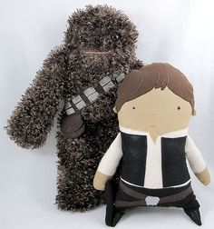 "Han and Chewy | Artist: Denn Rodriguez - www.dennrodriguez... | This artwork was a part of Bear and Bird Gallery's ""Stitch Wars"" exhibition in Lauderhill, Florida in 2009 - www.bearandbird.com"