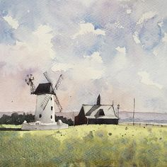 The Windmill at Lytham St.Annes #watercolor #watercolour #landscape #lytham #windmill #instaart #instaartist #winsorandnewton #aquarelle #painting #art #inspiring_watercolors