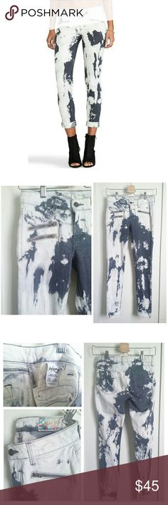"""Siwy Denim Mickie Acid Wash Jeans """"Mickie"""" faded black/gray/white acid wash jeans by designer label, Siwy Denim. Wash Name - Cloud My Mind. Soft and comfy stretch jeans with zipper details. Made in USA. Size 24. 98% Cotton, 2% Elastane. Retailed $229.  Rise 7.5"""", Inch Seam 27.5"""", Waist 13"""".  Pre-owned condition. Please note 2 runs across both legs from manufacturer's defect. Please see photos above.   No Modeling/No PP/No Mercarii/No Trades. Siwy Jeans Skinny"""