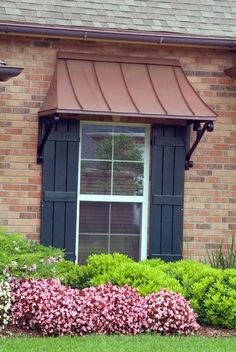 Juliet window awning - Copper with Lazy Scrolls