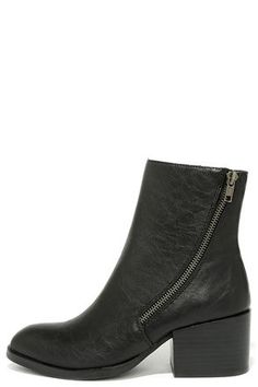 8d54f2921fd21 This sleek ankle boot is top notch! The Very Volatile Adare Black Ankle  Boots include a pointed-toe vegan leather upper with zipper accent.