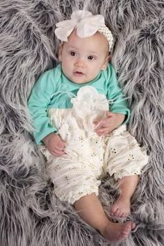 Peaches 'n Cream Aqua and Gold Sequin Ruffled Onesie W/ Headband Fall 2015