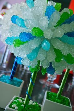 Green  Blue Rock Candy Topiary Tree great for a candy bar or a tea/coffee or iced tea table.  However, that much rock candy will not be cheap!
