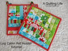 30 Awesome Photo of Sew Potholders Tutorials . Sew Potholders Tutorials Log Cabin Pot Holder Tutorial A Quilting Life Christmas Log, Christmas Sewing, Christmas Fabric, Christmas Gifts, Holiday Crafts, Holiday Ideas, Quilt Binding Tutorial, Pillow Tutorial, Bias Binding