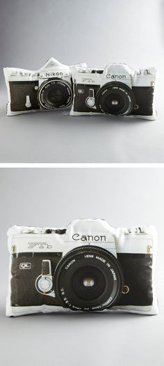 Canon vs. Nikon? Vintage camera pillows!