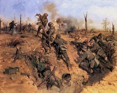 British troops charging into German trenches