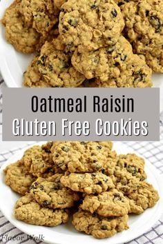 These Gluten Free Oatmeal Raisin Cookies are filled with raisins and lots of oats. Theyre soft chewy and impossible to resist! Best Gluten Free Cookies, Gluten Free Cookie Recipes, Gluten Free Sweets, Gluten Free Cooking, Gluten Free Oatmeal, Oatmeal Raisin Cookies, Foods With Gluten, Baking Ideas, Baking Recipes