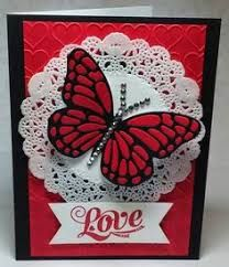 handmade Valentine/love card from Create with Seongsook . black, white and red . luv how she inlaid the pieces in the die cut butterfly . Stampin' Up! Valentines Day Cards Handmade, Valentines Diy, Greeting Cards Handmade, Paper Cards, Diy Cards, Scrapbooking, Butterfly Cards, Butterfly Artwork, Valentine's Day Diy