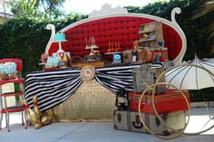 Fun decorations at a vintage circus baby shower party! See more party planning ideas at CatchMyParty.com!