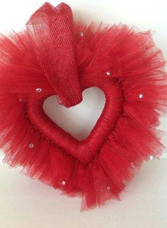 Tutu Heart Wreath Valentine's Wreath Front Door by Fourgirlsfun