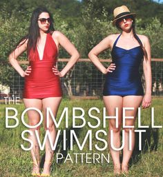 Closet Case Files bombshell swimsuit, match for Norma Kamali   Ruched halterneck swimsuit