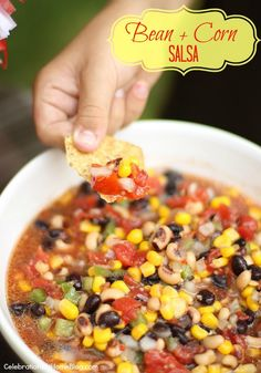 Bean & Corn Salsa 1 can black-eyed peas – drained & rinsed 1 can black beans – drained & rinsed 1 can yellow corn – drained 1/2 cup chopped onion 1/2 cup chopped green pepper 1/4 to 1/2 cup finely chopped jalapenos 1 can petite diced tomatoes – do not drain 1/2 teaspoon garlic salt 1 – 8oz. bottle Italian salad dressing Mix & refrigerate over night. Healthy Snacks, Healthy Eating, Healthy Recipes, Dip Recipes, Barbacoa, Corn Bean Salsa, Salsa With Corn, Salsa Guacamole, Appetizer Recipes