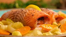 fish and vegetables Snack Recipes, Snacks, Cantaloupe, Seafood, Chips, Fish, Vegetables, Fruit, Snack Mix Recipes
