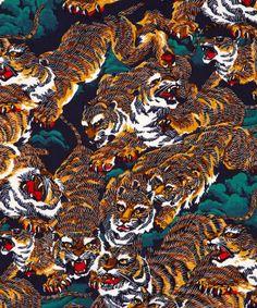 Kenzo Teal Flying Tiger Print Silk Scarf
