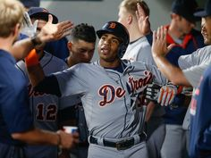 Yoenis Cespedes of the Detroit Tigers is congratulated