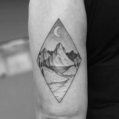 Landscape Tattoo by Tom Tom Geometric Shape Tattoo, Geometric Sleeve Tattoo, Triangle Tattoos, Circle Tattoos, Dreieckiges Tattoos, Sleeve Tattoos, Tattoo Ink, Arm Tattoo, Fish Tattoos