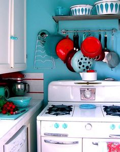 Red and turquoise kitchen-new apt!