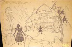 Vintage Disney Alice in Wonderland: Bruce Bushman Concept Brownline - Alice in Wonderland Walkthrough #7