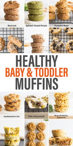Healthy Baby Food, Healthy Toddler Meals, Kids Meals, Healthy Snacks, Healthy Toddler Breakfast, Toddler Menu, Healthy Finger Foods, Baby Muffins, Muffins For Babies