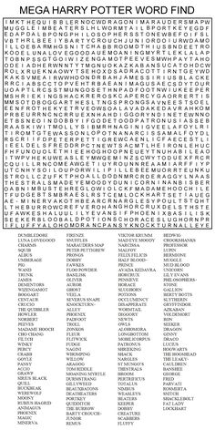 Hard Printable Word Searches for Adults | MEGA HARRY POTTER WORD FIND by Kinky-chichi