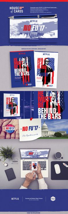 Design and concept creation: Diego Troiano.Campaign name: NO FU (Frank Underwood) Campaign of the political opposition, for the non-election of the presidency underwood in the year made: public posters, merchandising, browsers, digital … House Of Cards Netflix, Frank Underwood, Presidents, Identity, Campaign, Public, Politics, Posters, Concept