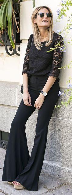 Guiadeestilo Everything Black Flare Pants Outfit Idea #Guiadeestilo