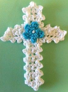 free cross with flower crochet pattern