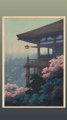 TEMPLE CORNER BY ITO YUHAN. The colors, composition and atmosphric perspective alone would be enough to make this a favorite… Japanese Art Prints, Japanese Artwork, Japanese Painting, Japanese Colors, Chinese Painting, Japanese Aesthetic, Aesthetic Art, Aesthetic Anime, Japon Illustration
