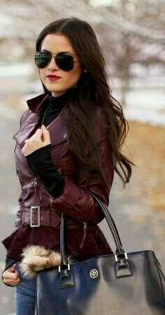 plum leather jacket