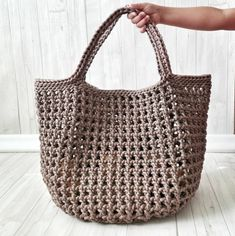 Japanese Knot Bag, Knit Basket, Produce Bags, Reusable Grocery Bags, Crochet Handbags, Market Bag, Knitted Bags, Tote Bag, Large Bags
