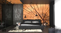 OES Architekci submitted a black bedroom interior with wood wall decor - project dedicated to young people that love dark tones. Home Bedroom, Modern Bedroom, Bedroom Wall, Bedroom Decor, Hotel Room Design, Bedroom Black, Wood Wall Decor, Suites, Deco Design