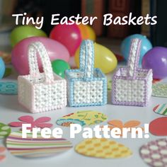 Free plastic canvas pattern, Tiny Easter Baskets, 1/3