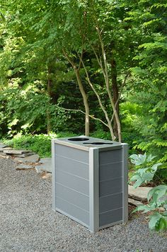 New Modern Recycling and Trash Bins |by DeepStream Design double Audubon bin in recycled plastic lumber shown