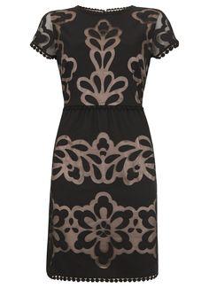 how to wear a velvet dress   Black Applique Dress- Mint Velvet   What to Wear?