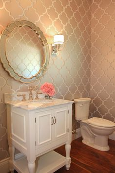 Hudson House traditional powder room--guest bath wallpaper