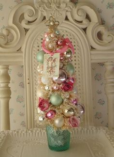 Bottle Brush Tree - Shabby Pink n Aqua