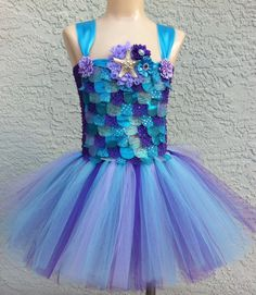 Mermaid tutu/ mermaid tutu dress/ under the by JosieJosHeadbands