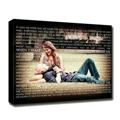 anniversary cotton gift ,your photo on canvas words, vows, wedding song on canvas as gift for anniversary !
