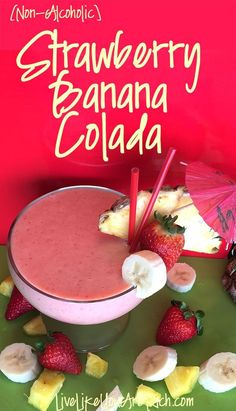 This Non-Alcoholic Strawberry Banana Colada is an awesome combination of Strawberries Bananas Pineapple and Coconut! Would be great to make for guests. Smoothie Recipes For Kids, Smoothies For Kids, Fruit Recipes, Healthy Smoothies, Mexican Food Recipes, Dessert Recipes, Healthy Drinks, Desserts, Copycat Recipes