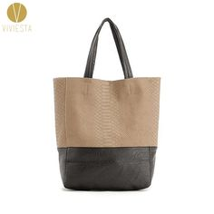 TWO-TONE LARGE CABAS TOTE - Women's Vertical PU Faux Leather Top Handle A4 Size Shopper Shopping Shoulder Bag Handbag Bolsa