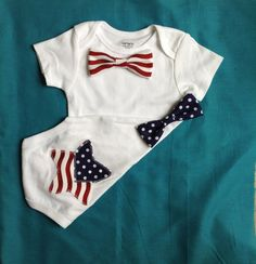 4th of July/ Birthday baby boy onesie with snap on bow ties on Etsy, $15.50