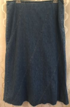 9750afaedb4 Liz Claiborne Long Modest Denim Jean Skirt Frayed Hem Womens Plus Size 16   LizClaiborne