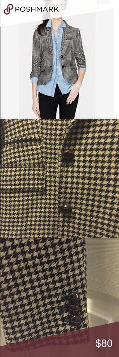 J. Crew houndstooth herringbone blazer Wool blazer.  Perfect for traditional season. J. Crew Jackets & Coats