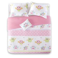 Pink and Green Bedding sets are inviting, fresh & summery that can add elegance to a room. Bedding Pink and Green are popular bedding for girls & adults. Purple Duvet, Pink Bedding Set, Green Bedding, Bedding Sets, Cute Bedspreads, Queen Bed Comforters, Girls Duvet Covers, Pink Bedroom Decor, Owl Pet